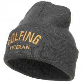 Golfing Veteran Embroidered Long Beanie