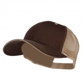 Big Size Garment Washed Cotton Twill Mesh Cap - Brown Beige