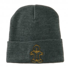 Gingerbread Man Embroidered Long Beanie