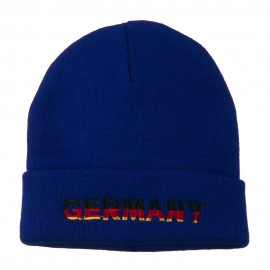 Germany Embroidered Long Beanie - Royal