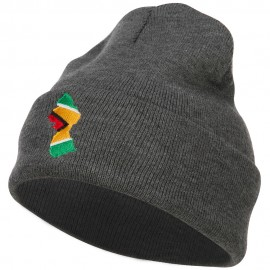 Guyana Flag Map Embroidered Long Beanie