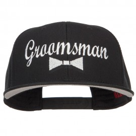 Groomsman Bow Tie Embroidered Cotton Snapback - Black