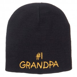 Number 1 Grandpa Embroidered Short Beanie