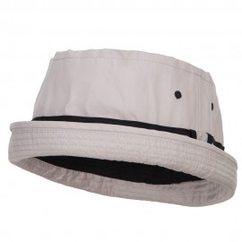 Big Size Striped Hat Band Fisherman Bucket Hat - Grey Black