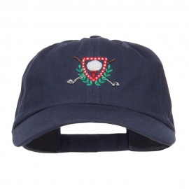 Golf Ball Tee Crest Embroidered Cap - Navy