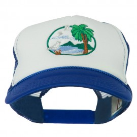 Fishing Beach Seagulls Embroidered Foam Mesh Back Cap