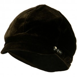 Gaby Velvet Newsboy Hat - Brown