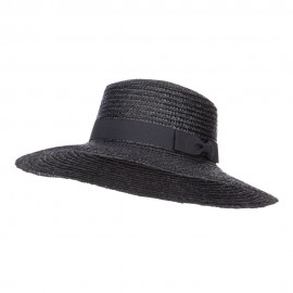Grosgrain Band Straw Boat Hat
