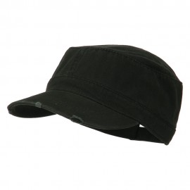 Garment Washed Distressed Military Cap - Black