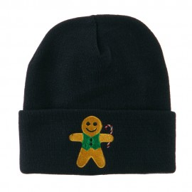 Gingerbread Man with Candy Cane Embroidered Beanie
