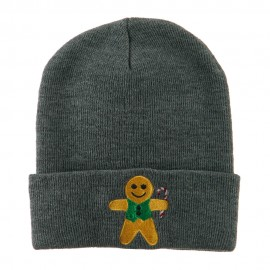 Gingerbread Man with Candy Cane Embroidered Beanie - Grey