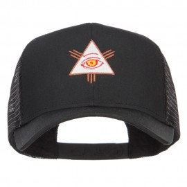 All Seeing Eye Embroidered Mesh Cap - Black