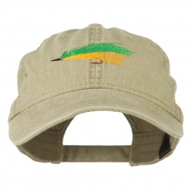 Fishing Green Fly Embroidered Washed Cap