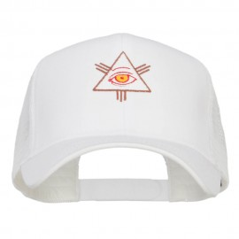 All Seeing Eye Embroidered Mesh Cap - White