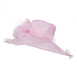 Ruffled Flower Organza Hat with Net - Pink