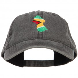 Guyana Map Flag Embroidered Washed Cap