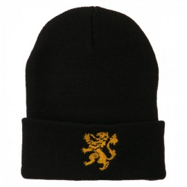 Heraldic Lion Embroidered Long Beanie