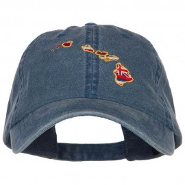 Hawaii State Flag Map Embroidered Washed Cap