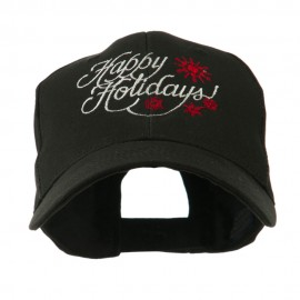 Christmas Happy Holidays Snow Flakes Embroidered Cap - Black