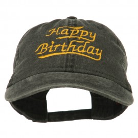 Happy Birthday Embroidered Washed Cap