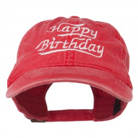 Happy Birthday Embroidered Washed Cap - Red