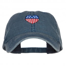 Patriotic USA Heart Embroidered Washed Cap