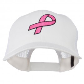 Hot Pink Ribbon Breast Cancer Embroidered Mesh Back Cap