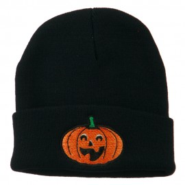 Halloween Excited Jack o Lantern Embroidered Long Beanie