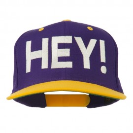Hey Embroidered Snapback Cap
