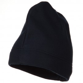 Hemmed Fleece Beanie - Navy