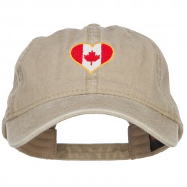 Canada Heart Flag Embroidered Washed Cap