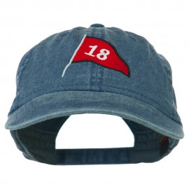 18th Hole Flag for Golf Embroidered Washed Cap