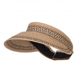 UPF 50+ Herringbone Braid Rollable Visor - Brown Tweed