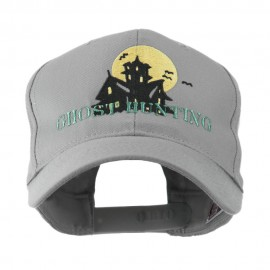 Halloween Ghost Hunting with House Embroidered Cap - Grey