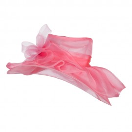 Horsehair Bow Layered Brim Organza Hat