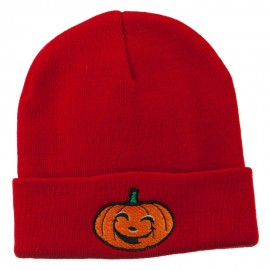 Halloween Happy Jack o Lantern Embroidered Long Beanie