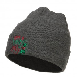 Have a Holly Jolly Embroidered Long Beanie
