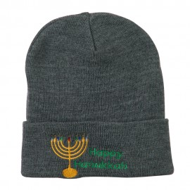 Happy Hanukkah Candles Embroidered Beanie