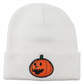 Halloween Laughing Jack o Lantern Embroidered Long Beanie