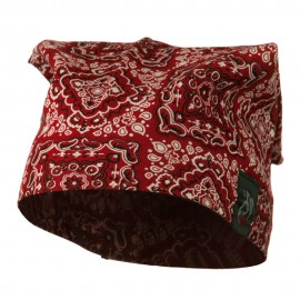 Headband Neckerchief Skull Cap-Paisley Red