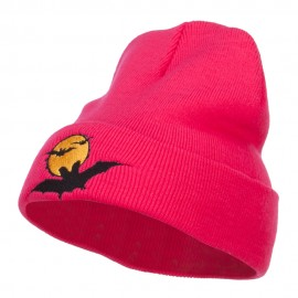 Moon Bats Halloween Embroidered Long Beanie