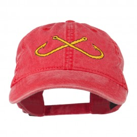 Fishing Crossed Fishhooks Embroidered Washed Cap - Red