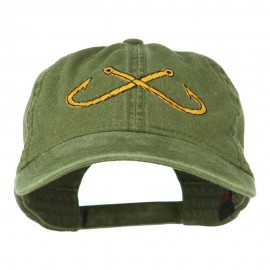 Fishing Crossed Fishhooks Embroidered Washed Cap - Olive Green