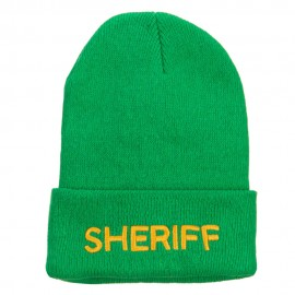 Sheriff Embroidered Oversize Cotton Long Beanie