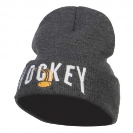 Hockey with Puck Embroidered Long Beanie