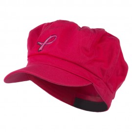 Hot Pink Ribbon Breast Cancer Embroidered Newsboy Cap