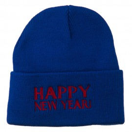 Happy New Year Embroidered Long Beanie