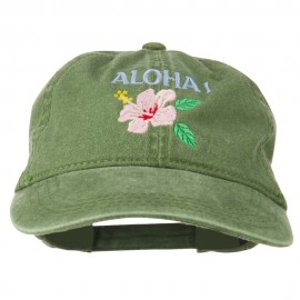 Hawaii Flower Aloha Embroidered Washed Cap - Olive Green