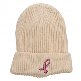 Breast Cancer Embroidered Big Size Waffle Beanie