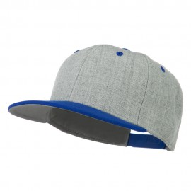 Heather Wool Blend Flat Bill Snapback Two Tone Cap - Royal Grey